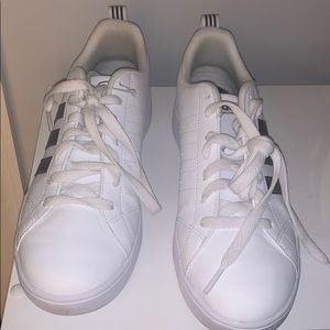 White and black adidas sneakers